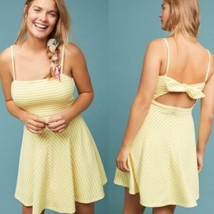 Anthropologie Molly Hutch Striped Yellow Dress